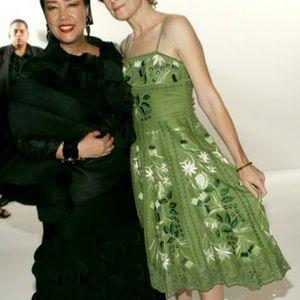 Sue Wong Embroidered Linen Dress